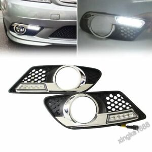 Fit Benz W204 C300 C350 08-11 DRL Fog lamp Direct-Fit LED Daytime Running Light