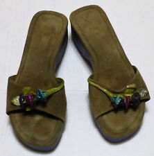 Handmade Valeria Lacerda Hand made Wood Shoes wedge  Size 10 Blue and Green
