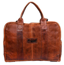"Men's brown Leather Shoulder Bag Messenger Briefcase 17"" Laptop Business Satchel"
