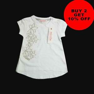 Baby Girls Branded White Embroidered Top T-Shirt  50% OFF RRP 9-24M [DT-03]