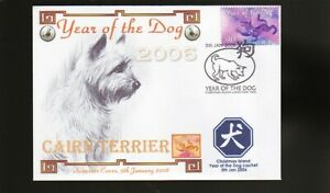 CAIRN TERRIER STAMP COVER, 2006 YEAR OF THE DOG c