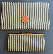 Vintage Fendi Clutch Purse & Kiss Lock Wallet Stripe No wear to set of two