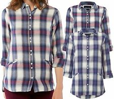 New White Stuff 6 - 18 Effortless Navy Red Purple Check Cotton Shirt Blouse Top
