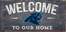 """Carolina Panthers Welcome to our Home Wood Sign - NEW 12"""" x 6""""  Decoration Gift"""