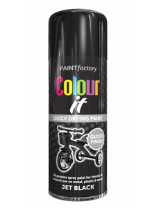 Jet Black Gloss Aerosol Spray Paint Can Metal Wood Plastic 400ml