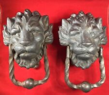 Pair of Antique Bronze/Brass Lion Door Knockers Architectural Decorative Art