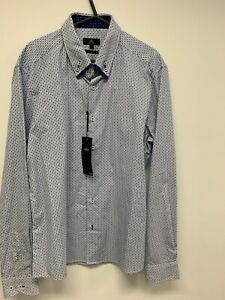 MENS NEXT DOUBLE COLLAR BUTTON CUFF SHIRT SIZE LARGE (L) SLIM FIT BNWT