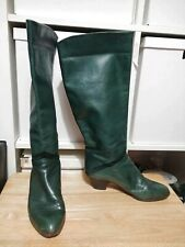 Vintage 80s Women's green Leather Slouch Heeled Ankle Boots EU 36 US 6