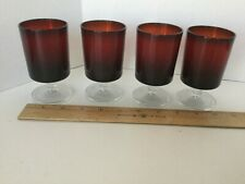 """Vintage Ruby Red 4"""" tall cocktail Beverage glasses with clear glass stem / base"""