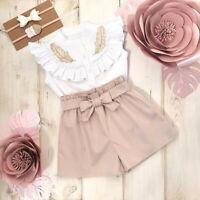 UK Baby Girls Toddler T shirt Tops + Short Pants Kids Outfits Summer Clothes Set