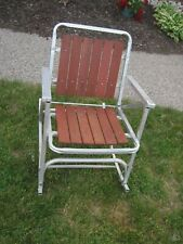 Vintage Folding Aluminum Red Wood Slat Rocking Lawn Chair/Rocker