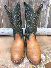 b16c230bac36f LARRY MAHAN Leather Mens Cowboy Boots USA Green Brown STITCHED Sz 9.5 XE