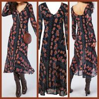 NEW Ex Topshop Floral Print Dress BLACK Summer Holiday Dress Size 6 - 16 RRP49