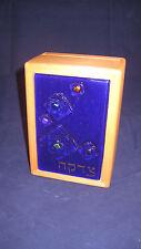 Modern Tzedakah Box - Dichroic Geo Fused Glass on Blue - Wood - Hand Made - Usa