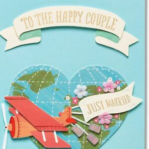 Papyrus Wedding Card:  JUST MARRIED  heart-shaped globe -Wonderful Adventures!
