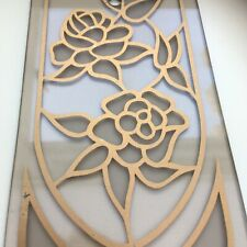 Vintage Smoked Glass Chandelier Replacement Panels Set Of 10. Gold Rose Design