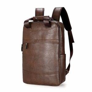 Laptop Backpack Faux Leather Solid Casual Notebook Zipper Rucksack Shoulder Bag