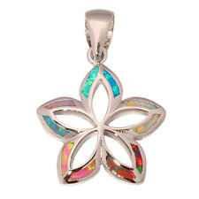 Rainbow Blue Orange White Pink Opal Women Jewelry Gemstone Silver Pendant OD5065