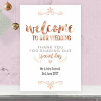 Personalised Welcome To Our Wedding Sign Poster Rose Gold Effect & Peach RG1