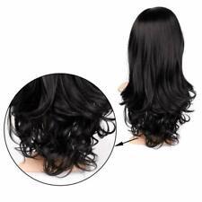 Women Lady Fashion Dark Black Straight Long Wavy Wig Curly Synthetic Hair