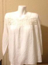 ANN TAYLOR LOFT Ladies Long Sleeve Crochet Top White Size Petite L NEW