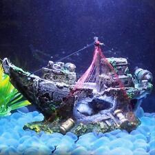 Aquarium Decoration Ornament Sailing Boat Ship Destroyer Fish Tank Cave Decor DH