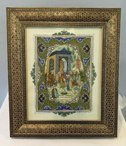 Antique Islamic Persian Miniature Painting on Bone / Listed Artist Rohani Signed