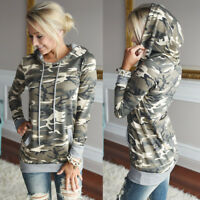 Womens camo Pocket Hoodie Sweatshirt Jumper Sweater Hooded Pullover Tops Coat UK