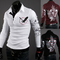 NEW Mens Stylish Slim Fit Casual Fashion T-shirts Polo Shirt Long Sleeve Tops UU