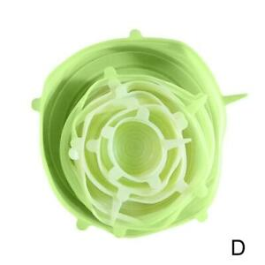 6Pcs Kitchen Silicone Stretch Bowl Cover Food Fresh Keeping Vacuum Sealed Lid