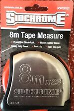 Sidchrome 8m x 25mm Tape Measure Metric Stainless Steel 8Mtr SCMT26121 measuring