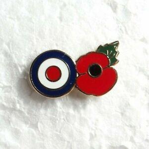 Roundel pin badge. RAF of Mod. Poppies design. Metal. Enamel.