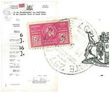 """STH AFRICA - 1946 Court Cert with 5/- Bantam Revenue """"LANGUAGE ERROR"""" (ME210)**"""