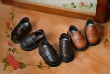 1/6yosd 1/4MSD BJD Retro Leather Flat Shoes Round-toe Black/Brown/Orange LUTS DL