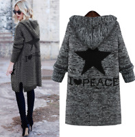 Women Knitted Loose Hooded Sweaters Cardigans Outwear Casual Blouses Gray