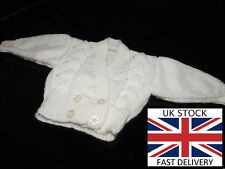 BIRTH NEWBORN Girls WHITE Crossover Cardigan Double Knitting FREE DELIVERY 🇬🇧