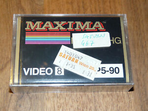 Maxima Video 8 P5-90 Leerkassette Videokassette neu in Folie, vintage video tape