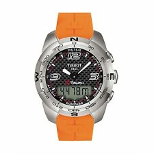 NEW Tissot T0134201720700 Men T-Touch Expert Carbon Fiber Dail Orange Band Watch