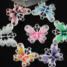 5Pcs Silver Plated Enamel Rhinestone Butterfly Charms Pendant Jewelry Findings