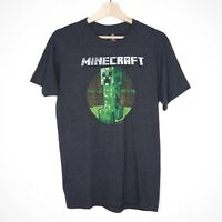 Official Mojang Jinx Minecraft Creeper Graphic Mens T-shirt Size Medium Grey