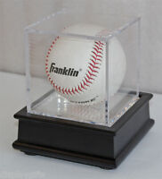 Baseball Holder Display Case Cube, Black Wooden Stand B03-BL