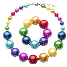 Girls/Baby's Lovely Rainbow Color Acrylic Beaded Necklace&Bracelet Set Gifts