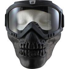 Birdz Skullbird Black Powersports Motorcycle Goggles with Face Mask Clear Lens