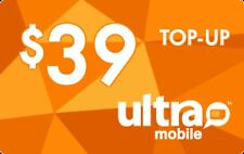 Ultra Mobile  Prepaid $39 Refill Top-Up Prepaid Card ,PIN / RECHARGE