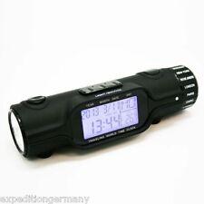 Gummiert rutschfeste Weltuhr Reisewecker LED Taschenlampe Thermometer Zeitzonen