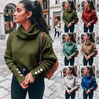 Women Loose Knitted Pullover Jumper Sweater Turtleneck Long Sleeve Knitwear Top