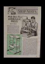 Hydraulic ARBOR PRESS HowTo Build PLANS Uses Auto Jack