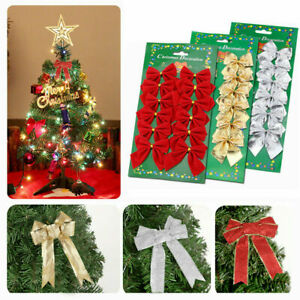 Christmas Tree Bows Hanging Bowknot Decoration for Xmas Party Wreaths Wrapping