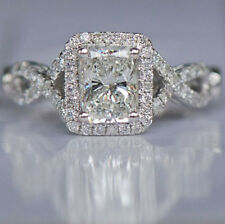 CERTIFIED 3.50CT FANCY WHITE EMERALD CUT DIAMOND ENGAGEMENT RING 14K WHITE GOLD