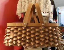 Split Ash Handled Carrying Basket Beautiful Workmanship Vintage Unsigned 14x10x5